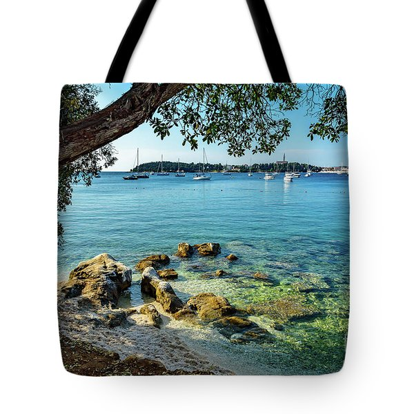Rovinj Old Town, Harbor And Sailboats Accross The Adriatic Through The Trees Tote Bag