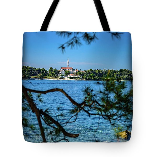 Rovinj Seaside Through The Adriatic Trees, Istria, Croatia Tote Bag