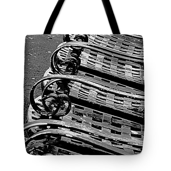 Tote Bag featuring the photograph Row Of Chairs by Ranjini Kandasamy