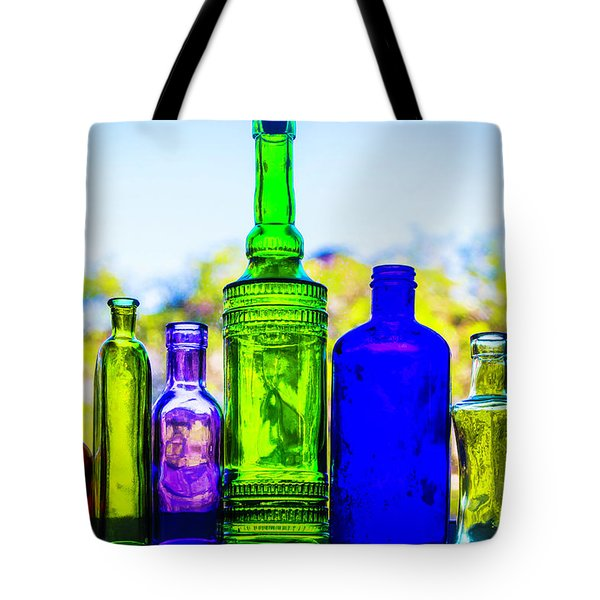 Row Of Colored Bottles Tote Bag
