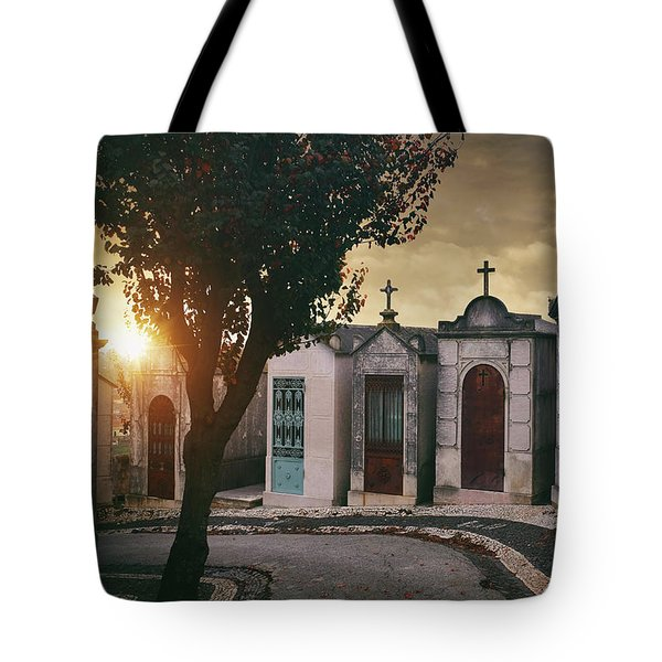 Tote Bag featuring the photograph Row Of Crypts by Carlos Caetano