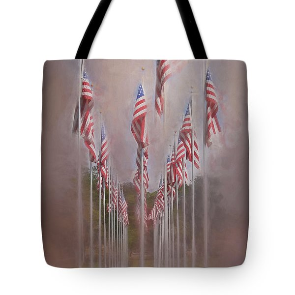 Row Of Flags Tote Bag by Clare VanderVeen