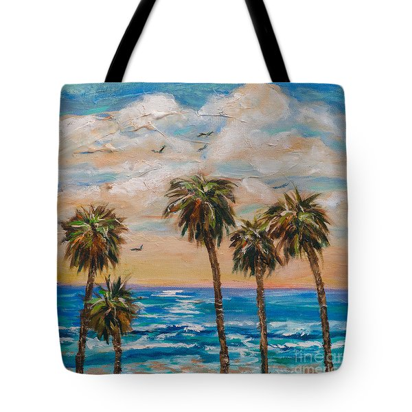 Tote Bag featuring the painting Row Of Palms by Linda Olsen
