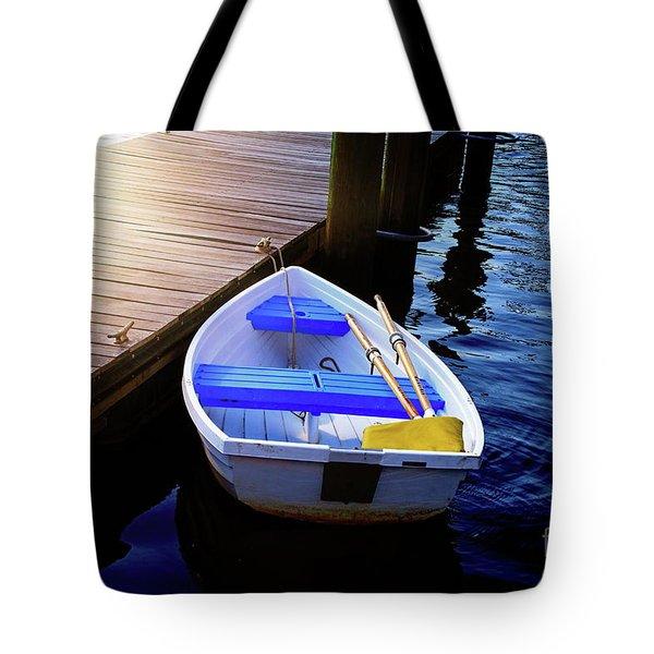 Rowboat At Sunset Tote Bag