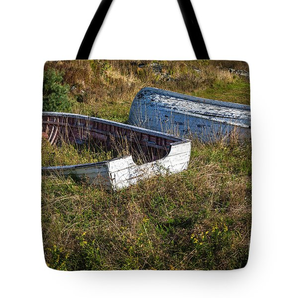 Rowboats In Brigus Tote Bag by Verena Matthew