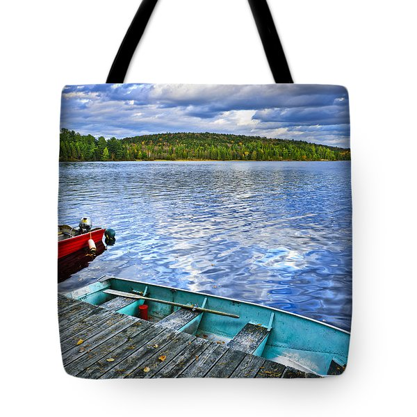 Rowboats On Lake At Dusk Tote Bag by Elena Elisseeva