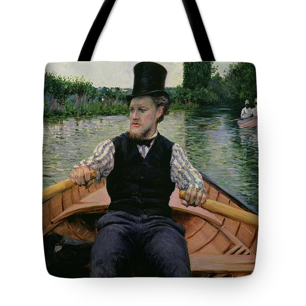 Rower In A Top Hat Tote Bag by Gustave Caillebotte