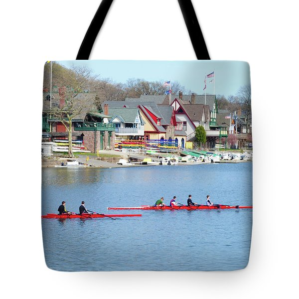 Rowing Along The Schuylkill River Tote Bag