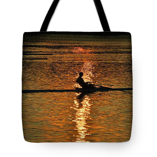 Rowing At Sunset 3 Tote Bag by Bill Cannon