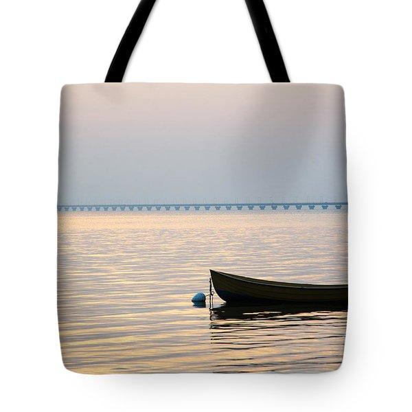 Rowing Boat At Sunset Tote Bag