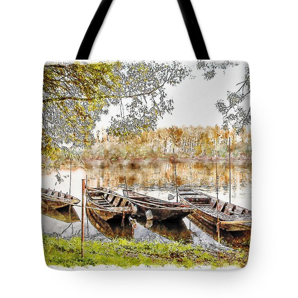 Tote Bag featuring the digital art Rowing Boats And Punts On The Loire France by Anthony Murphy