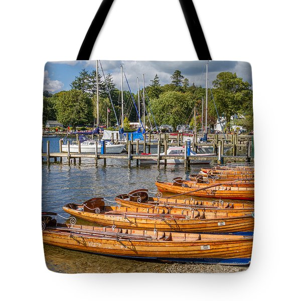 Rowing Boats In Ambleside On Lake Windermere Tote Bag