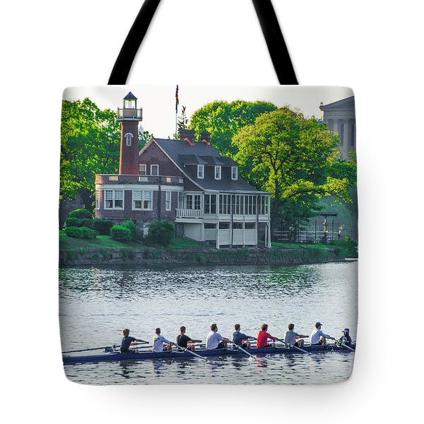 Tote Bag featuring the photograph Rowing Crew In Philadelphia In The Spring by Bill Cannon