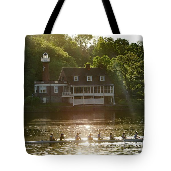 Tote Bag featuring the photograph Rowing In Front Of Segley Club by Bill Cannon