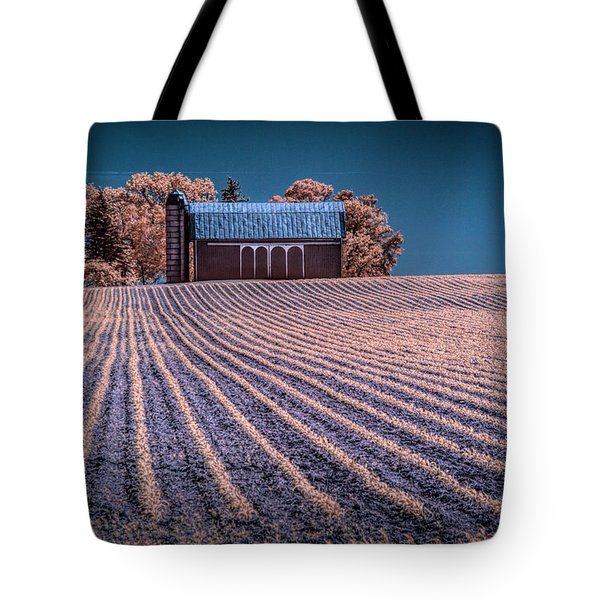 Rows In A Farm Field With Barn And Silo In Infrared Tote Bag