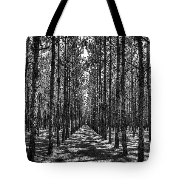 Tote Bag featuring the photograph Rows Of Pines Vertical by Tommy Patterson