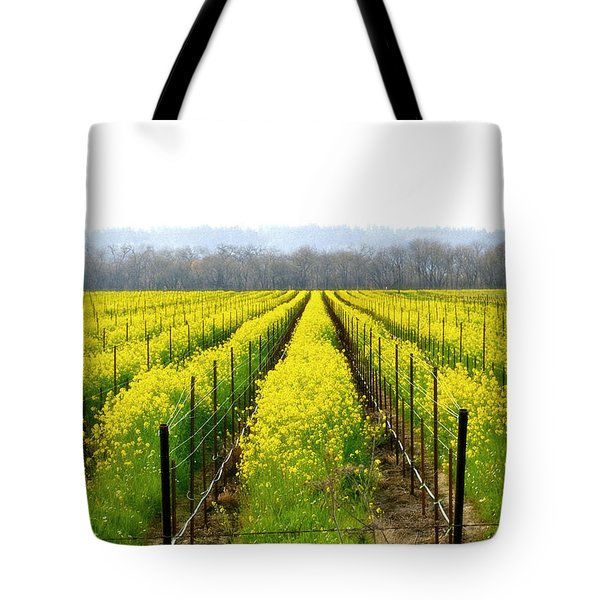 Rows Of Wild Mustard Tote Bag by Tom Reynen