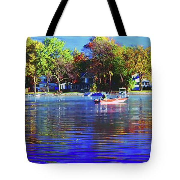 Tote Bag featuring the photograph Roy And Boat Fall Fishing by Tom Jelen