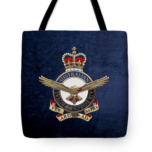 Royal Australian Air Force -  R A A F  Badge Over Blue Velvet Tote Bag