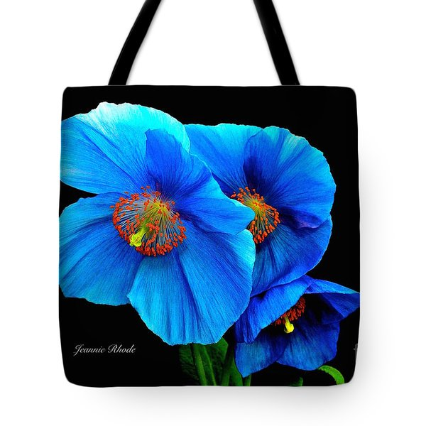 Royal Blue Poppies Tote Bag
