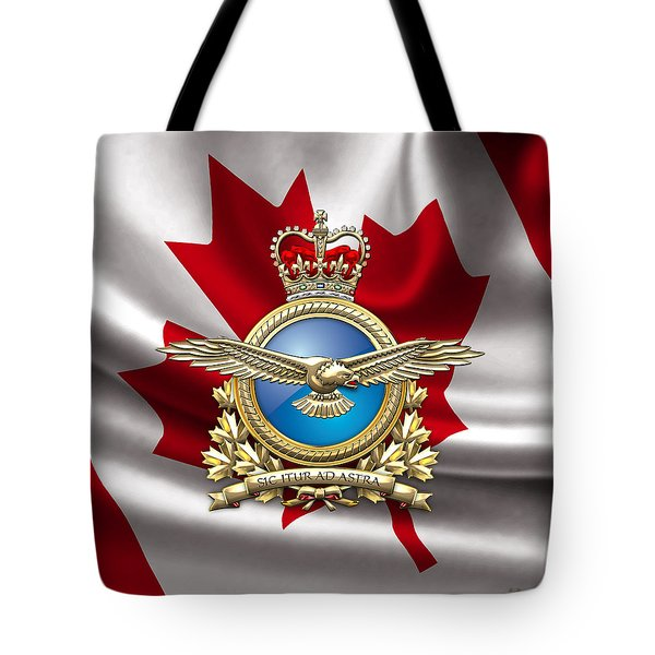 Royal Canadian Air Force Badge Over Waving Flag Tote Bag