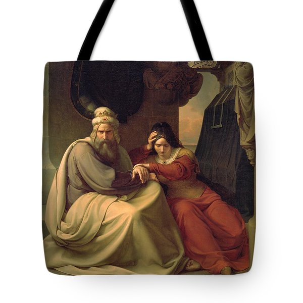 Royal Couple Mourning For Their Dead Daughter Tote Bag by Carl Friedrich Lessing