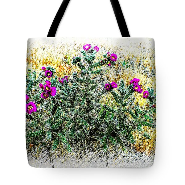 Royal Gorge Cactus With Flowers Tote Bag by Joseph Hendrix