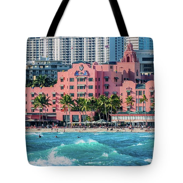 Royal Hawaiian Hotel Surfs Up Tote Bag by Aloha Art
