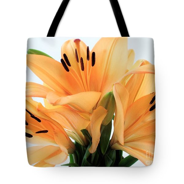Tote Bag featuring the photograph Royal Lilies Full Open - Close-up by Ray Shrewsberry