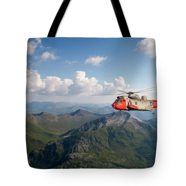 Tote Bag featuring the digital art Royal Navy Sar Sea King by Pat Speirs