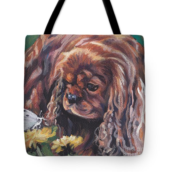 Tote Bag featuring the painting Ruby Cavalier King Charles Spaniel by Lee Ann Shepard
