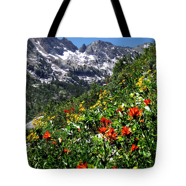 Ruby Mountain Wildflowers - Vertical Tote Bag by Alan Socolik