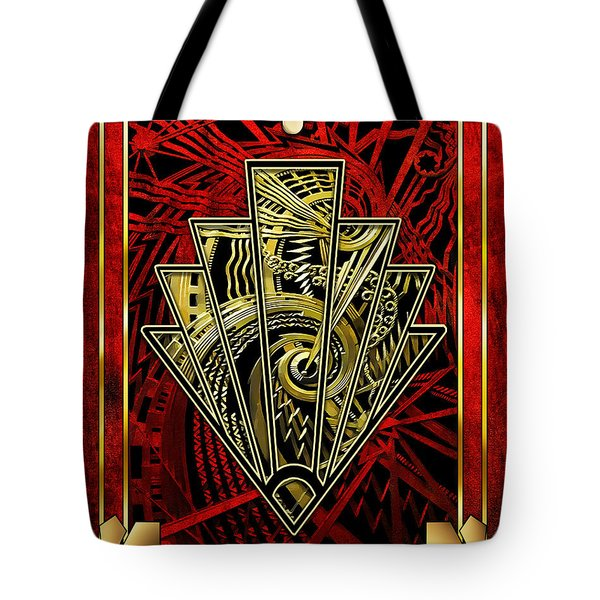 Tote Bag featuring the digital art Ruby Red And Gold by Chuck Staley