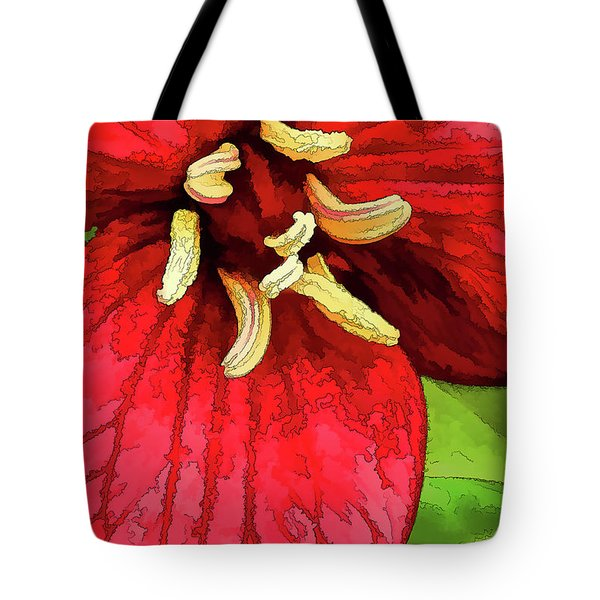 Ruby Red Trillium Tote Bag