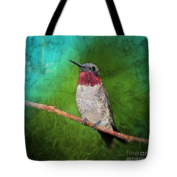 Ruby Throated Hummingbird Tote Bag by Betty LaRue