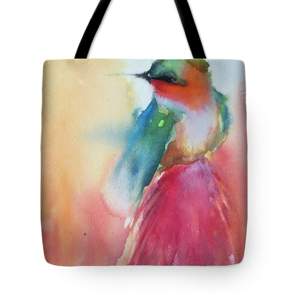 Ruby Throated Hummingbird On A Red Hot Poker Flower Wip Tote Bag