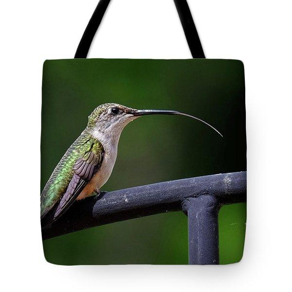 Ruby-throated Hummingbird Tongue Tote Bag
