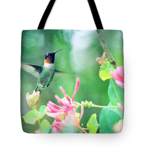 Tote Bag featuring the photograph Ruby-throated Hummingbird by Trina  Ansel