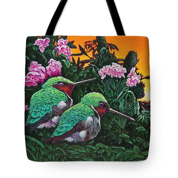 Ruby-throated Hummingbirds Tote Bag
