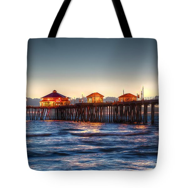 Ruby's Surf City Diner At Twilight - Huntington Beach Pier Tote Bag by Jim Carrell