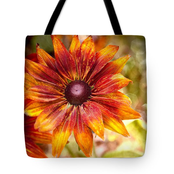 Rudbeckias With Sparkly Bokeh Tote Bag by Maria Janicki