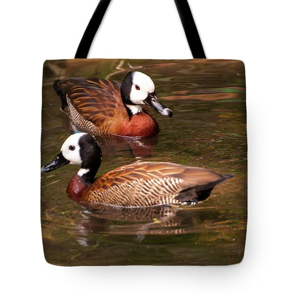 Tote Bag featuring the digital art White-faced Whistling Duck by Chris Flees