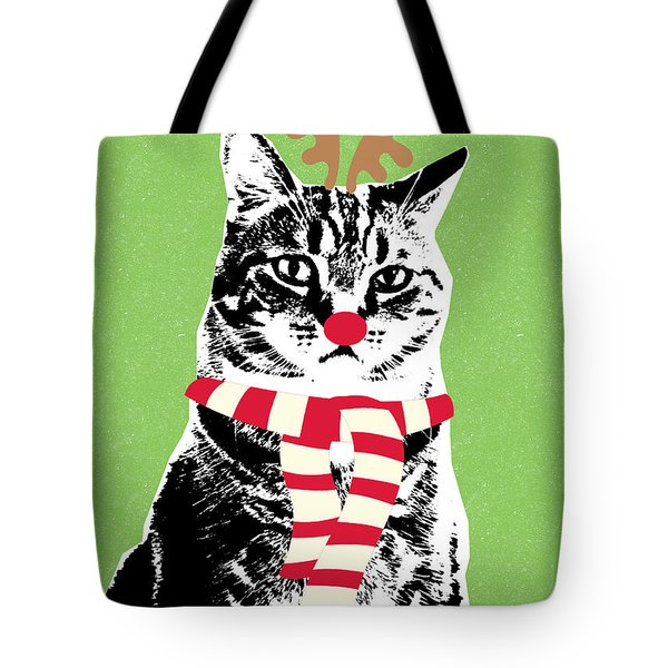 Rudolph The Red Nosed Cat- Art By Linda Woods Tote Bag