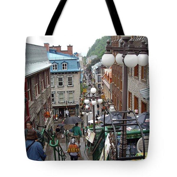 Tote Bag featuring the photograph rue du Petit Champlain by John Schneider
