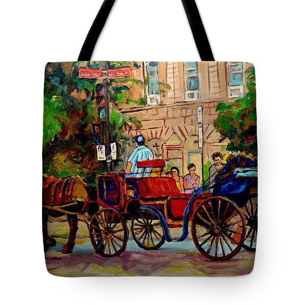 Rue Notre Dame Montreal Tote Bag by Carole Spandau