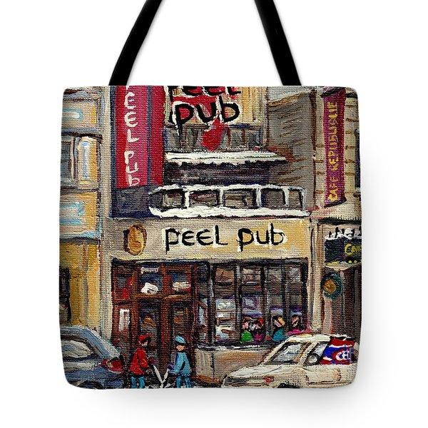 Rue Peel Montreal Winter Street Scene Paintings Peel Pub Cafe Republique Hockey Scenes Canadian Art Tote Bag