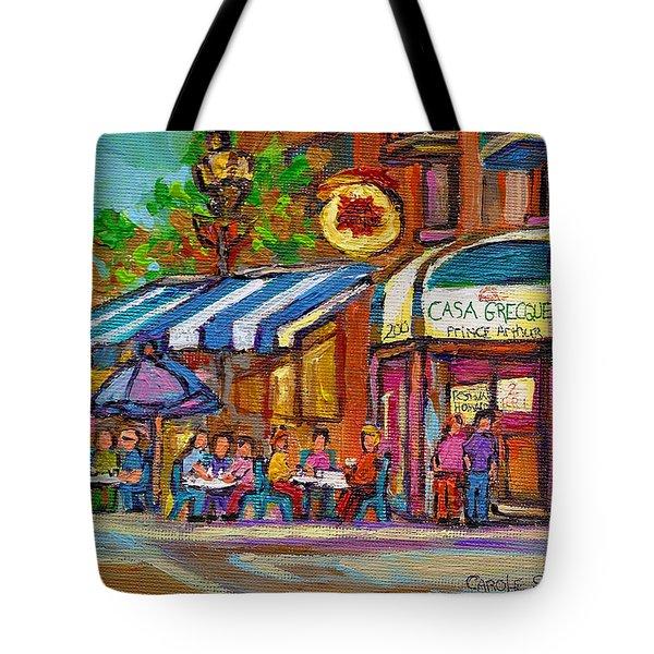 Rue Prince Arthur Casa Grecque Montreal Tote Bag by Carole Spandau