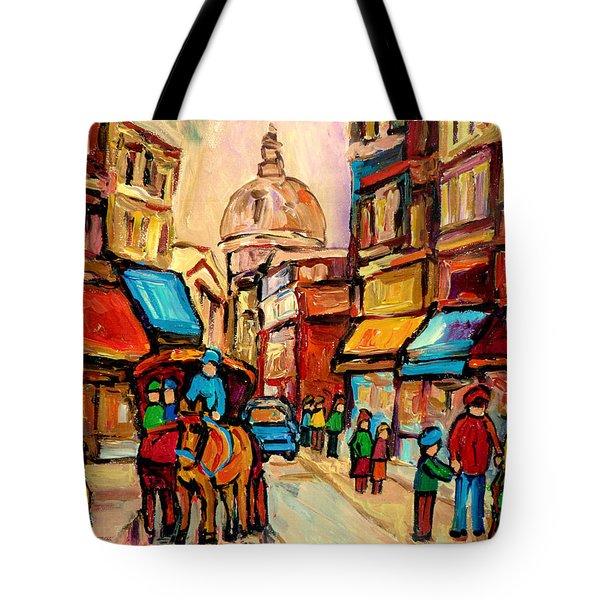 Rue St. Paul Old Montreal Streetscene Tote Bag by Carole Spandau