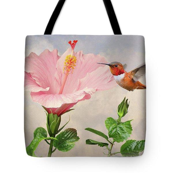 Rufous Hummingbird And Pink Hibiscus Flower Tote Bag