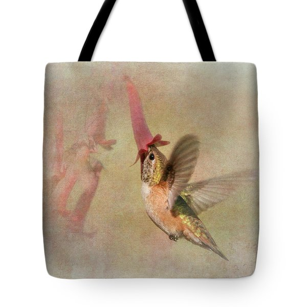 Tote Bag featuring the photograph Rufous Hummingbird In Cape Fuchshia by Angie Vogel